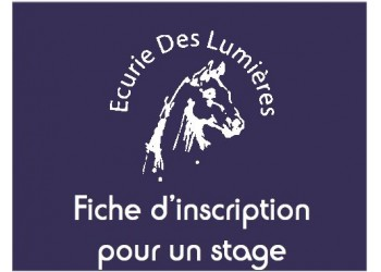 Fiche d'inscription à un stage enfant